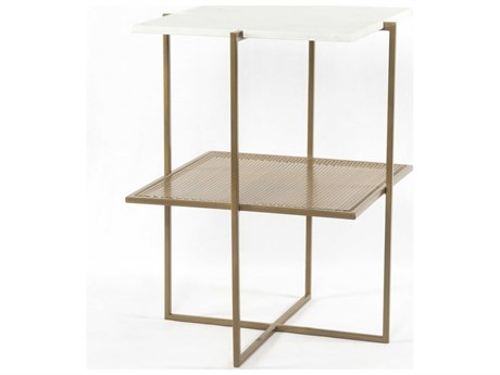 Four Hands Marlow Antique Brass / Polished White Marble Nightstand