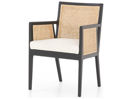 Four Hands Parallel Savile Flax / Brushed Ebony Natural Cane Arm Dining Chair FSCPRL0091219084P