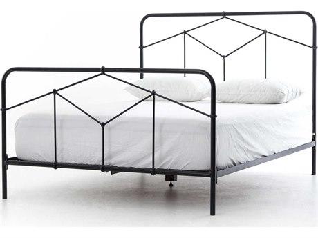 Four Hands Primitive Sandblasted Vintage Black / White Distressed King Panel Bed FSICAPK7