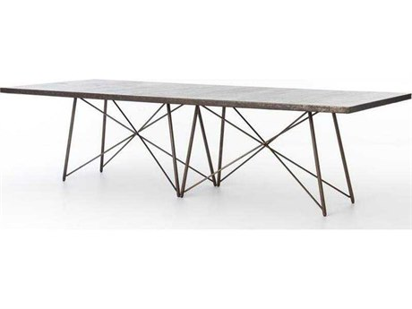 Four Hands Wesson Ox Iron and Ox Bronze Roman 114'' Rectangular Dining Table FSUWES027