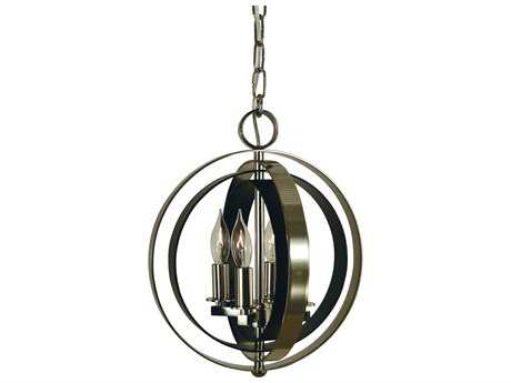 Framburg Constell Polished Nickel with Matte Black Four-Light 11'' Wide Mini Chandelier RM4650PNMBLACK