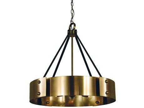 Framburg Lasalle Antique Brass / Matte Black 8-light 24'' Wide Pendant RM5298