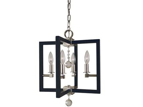 Framburg Polished Nickel / Matte Black 4-light 14'' Wide Mini Chandelier