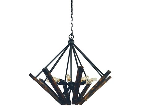 Framburg Rustic Chic Matte Black 8-light 30'' Wide Pendant RM5288