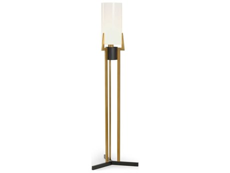 Frederick Cooper Antique Brass / Black Opaque White Glass Floor Lamp