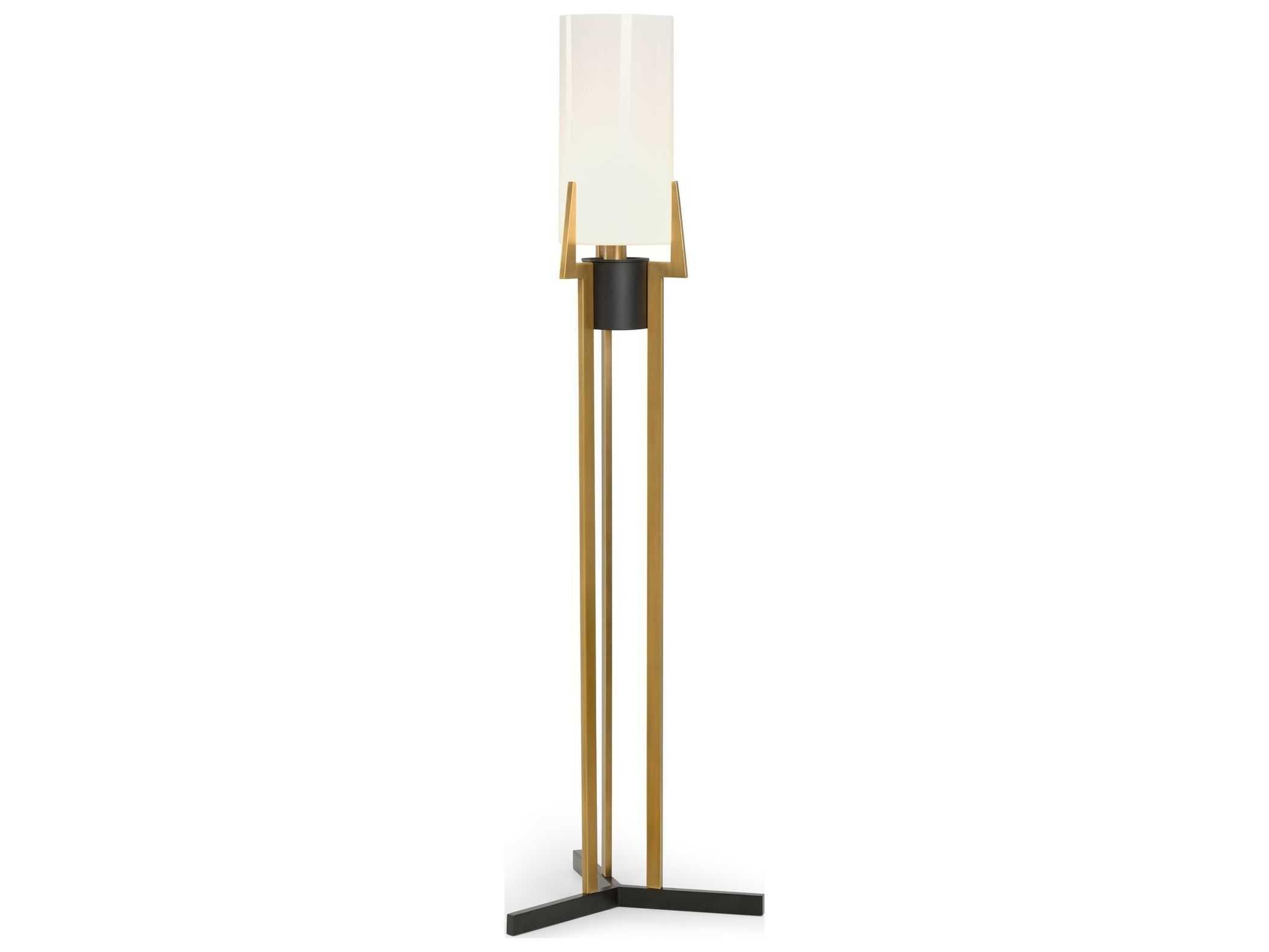 Frederick Cooper Antique Br Black Opaque White Gl Floor Lamp
