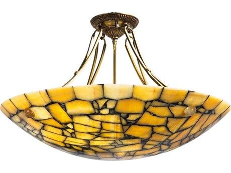 Frederick Cooper Yellow Marble Eight-Light 31'' Wide Semi-Flush Mount