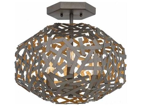 Fredrick Ramond Kestrel Metallic Matte Bronze Three-Light 16'' Wide Semi-Flush Mount Light FDFR38703MMB