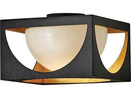 Fredrick Ramond Vega Anvil Black 12'' Wide Glass Flush Mount Light FDFR33001ABK