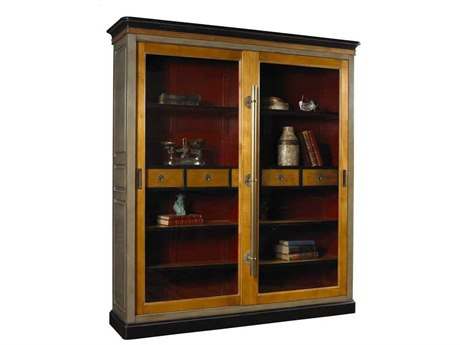 French Heritage Avenue Cold Grey, Aged Cherry, Black & Red Elliant Bookcase FREA2349405ACHG