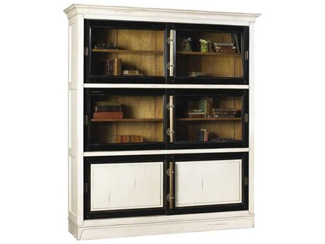 French Heritage Avenue White Black & Aged Cherry Calminius Bookcase FREA2349406BKWT