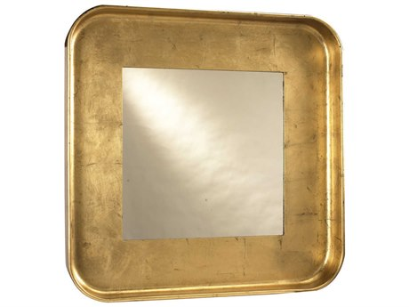 French Heritage Decorative Gold Leaf 44'' Wide Square Wall Mirror
