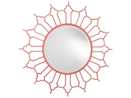 French Heritage Decorative Dark Rose 47'' Wide Round Marrakesh Wall Mirror FREM8704114DKRO