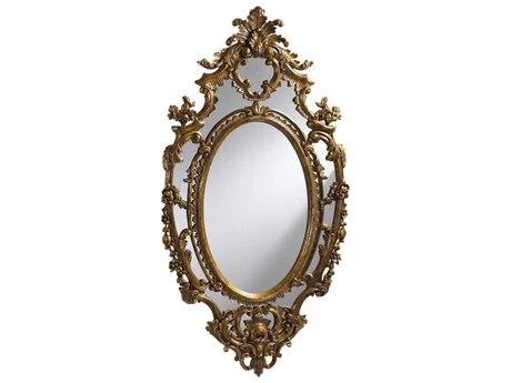 French Heritage Decorative Gold Leaf 33''W x 61''H Oval La Rochette Wall Mirror FREM8704217GLD