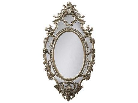 French Heritage Decorative Silver Leaf 33''W x 61''H Oval La Rochette Wall Mirror FREM8704217SLV