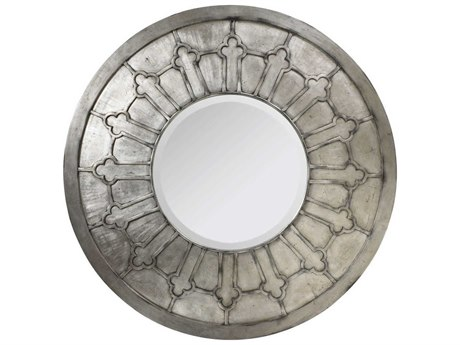 French Heritage Decorative Silver Leaf 48'' Wide Round Dune Wall Mirror FREM8704220SIL