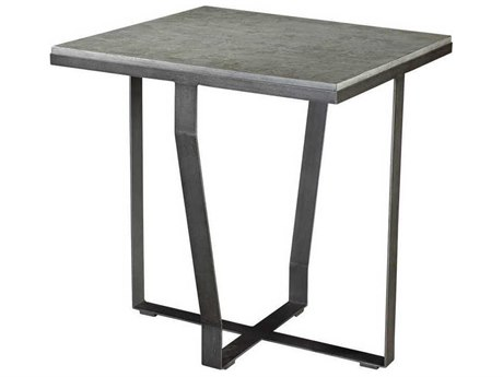 French Heritage Henry Faux Cement Slab with Metal 25'' Wide Square Torton End Table FREM1241101CEM