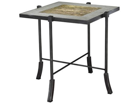French Heritage Henry Champagne Mosaic Strip with Faux Cement 28'' Wide Square Klee End Table FREM1241102GCIR