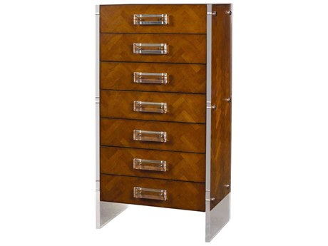 French Heritage Mid Century Antique Cherry 28''W x 17''D Reese Chevron Tall Chest of Drawers FREM1702402ANT