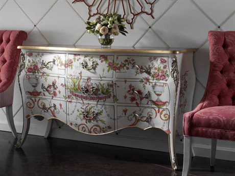 French Heritage Parc Saint Germain Flowers and Angels Decorative Painted Print Ophelia Accent Chest FREM1502414DPAF
