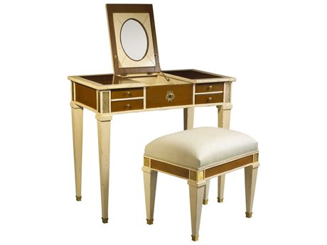 French Heritage Parc Saint Germain Light Cherry & Ivory Aubin Vanity and Stool