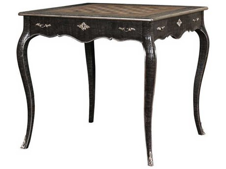 French Heritage Parc Saint Germain Faux Croc with Silver Leaf Couronne Game Table FREM1548401CROC