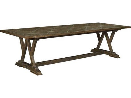 French Heritage Pyrenees 114''L x 43''W Rectangular Cordoba Parquetry Dining Table with Stone Inlay FREM25201212