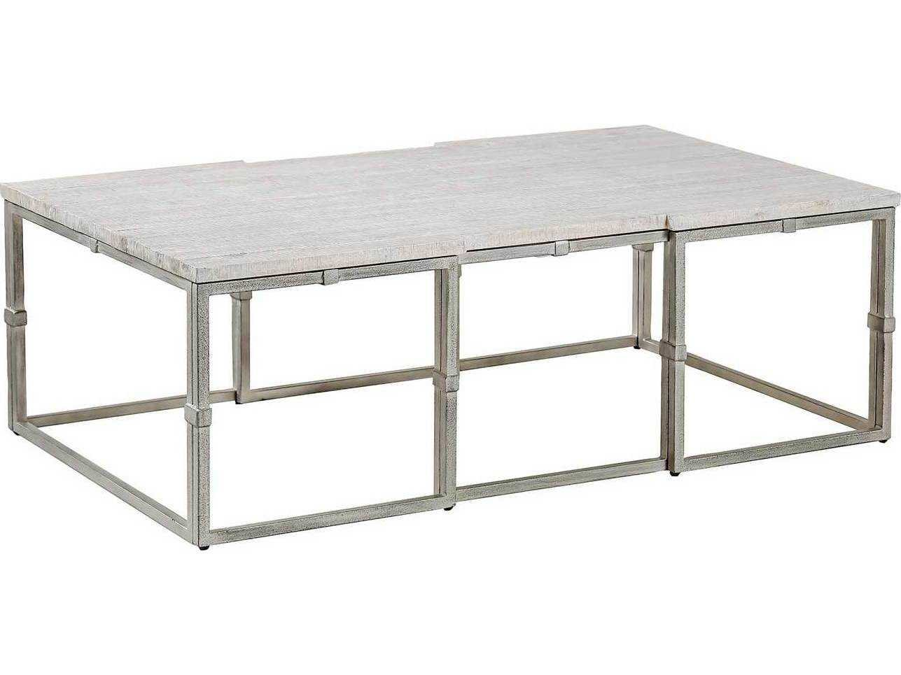 Gabby Alden Whitewashed Wood Brushed Silver 52 W X 32 D Rectangular Coffee Table Sch 151015
