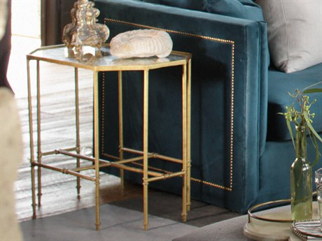Gabby Barnes Matte Gold & Eglomise Mirror 27''W x 17''D Hexagon End Table