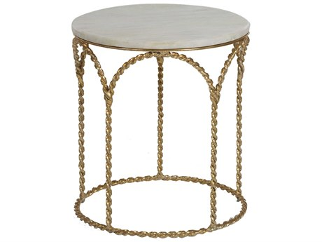 Gabby Home Basel Feather Green Marble, Gilded Gold 19'' Wide Round End Table GASCH161175