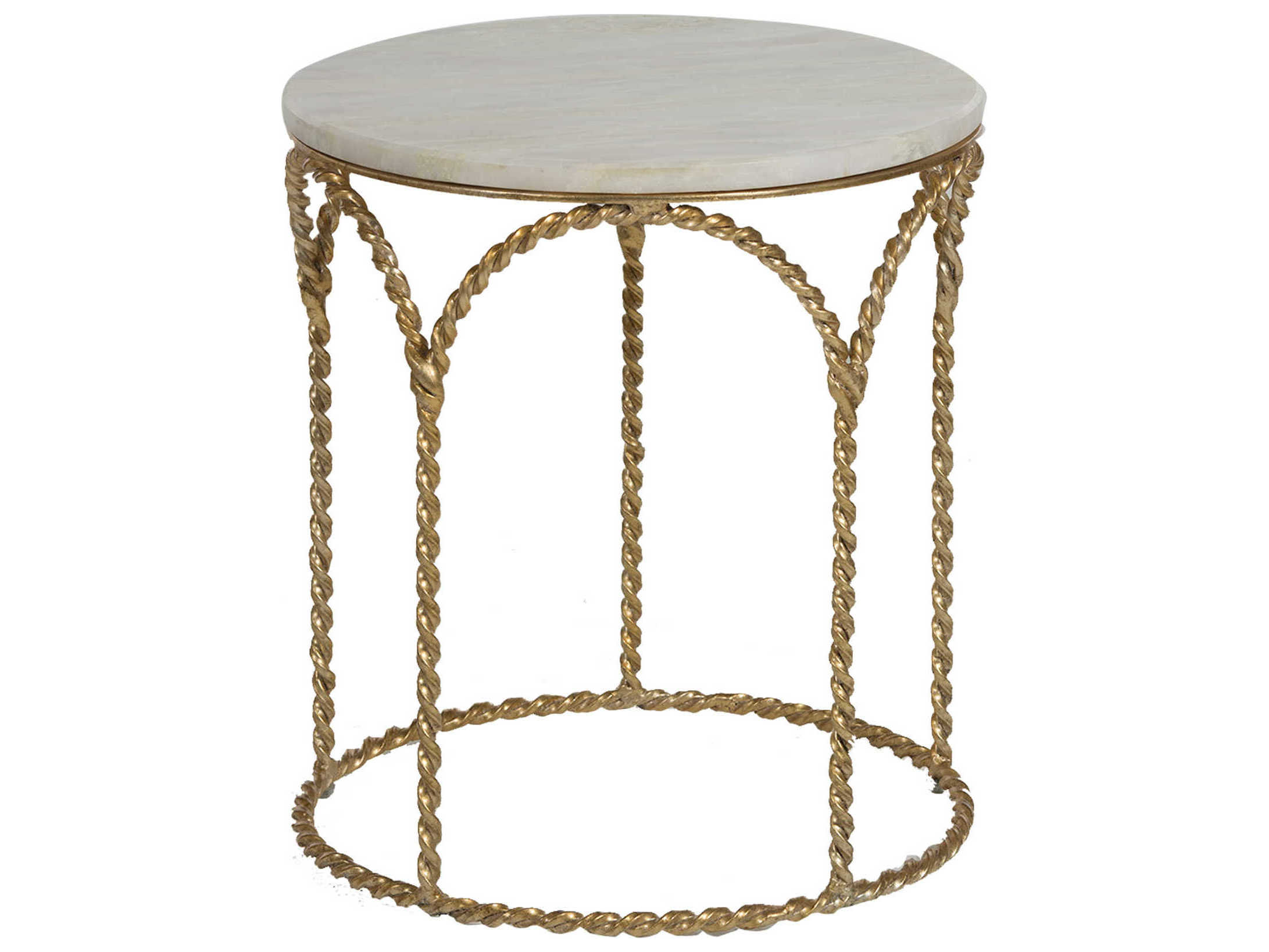 Gabby Home Basel Feather Green Marble Gilded Gold 19 Wide Round End Table Gasch161175