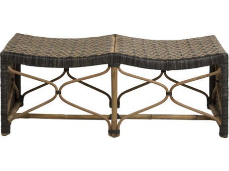 Gabby Home Bennet Black / Natural Rattan Double Accent Bench