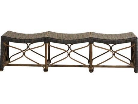 Gabby Home Bennet Black / Natural Rattan Triple Accent Bench