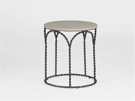 Gabby Bradley Cream Limestone & Black Iron 20'' Wide Round End Table GASCH250240