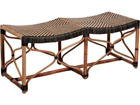 Gabby Home Brian Black / Natural Rattan Double Accent Bench