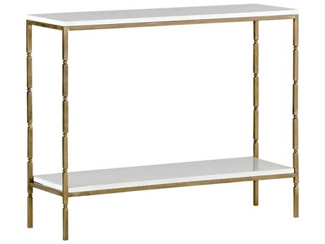 Gabby Bryson White Seagrass & Brushed Brass 40''W x 12''D Rectangular Console Table