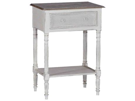 Gabby Carine Antique White Feather Grey 22''W x 16''D Rectangular End Table