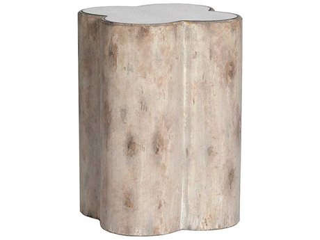 Gabby Cassandra Distressed Dove & Mirror 18'' Wide Round Side Drum Table