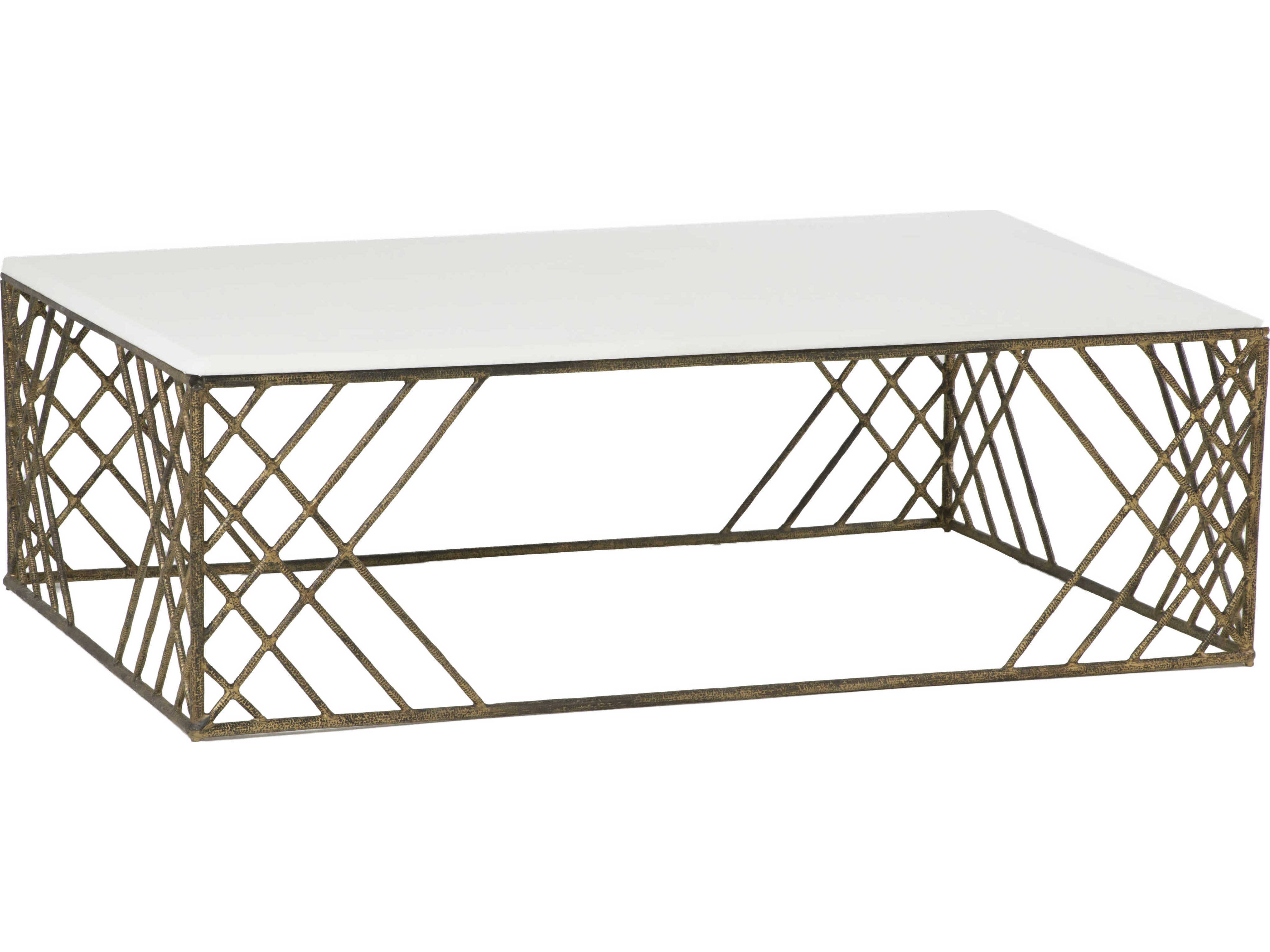 Gabby Cassidy White Seagrass Antique Gold 54 W X 36 D Rectangular Coffee Table Gasch153635