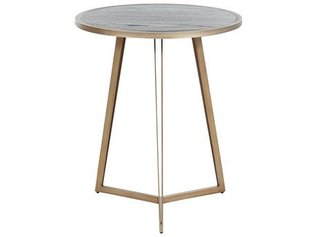 Gabby Home Caswell Dark Gray Cerused Oak, Light Bronze Gold 22'' Wide Round End Table