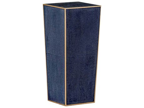 Gabby Cecil Navy Blue Shagreen & Antique Gold Trim 10'' Wide Square Accent End Table