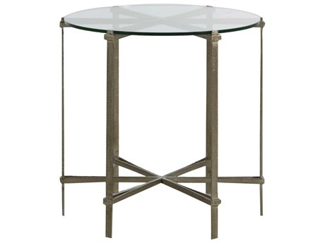 Gabby Home Clarissa Tempered glass, Textured champagne 24'' Wide Round End Table