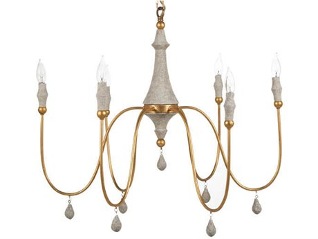 Gabby Home Clay Vintage Silver, Distressed Gray 41'' Wide Medium Chandelier