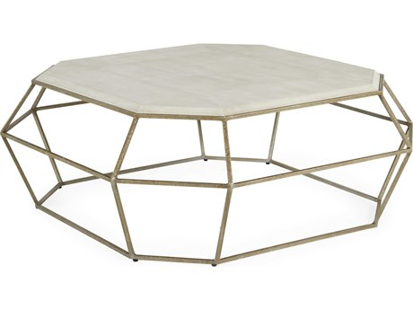 Gabby Home Cream Shagreen / Textured Champagne 47'' Wide Octagon Thorton Coffee Table GASCH192283