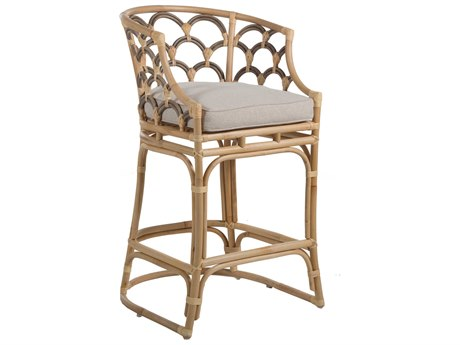 Gabby Home Coralee Gray Matte / Natural Rattan Coralee Arm Bar Height Stool