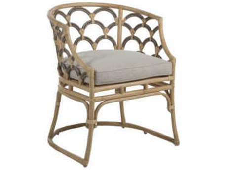 Gabby Home Coralee Gray Matte / Natural Rattan Coralee Arm Dining Chair