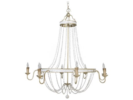Gabby Corinna Champagne Silver with Antique White Eight-Light 41'' Wide Chandelier GASCH153135