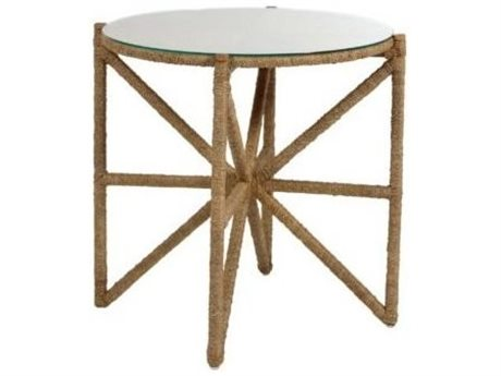Gabby Home Natural Wood / Natural Seagrass / Clear Tempered Glass 26'' Wide Round Nigel End Table