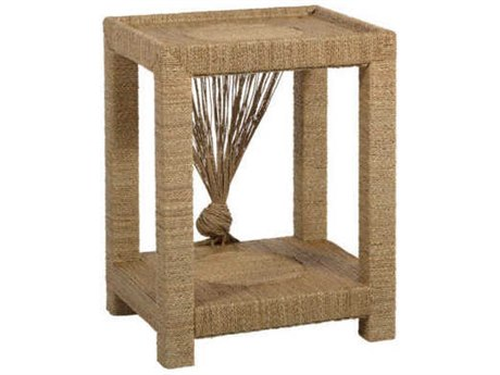 Gabby Home Natural Seagrass / Tempered Glass 24'' Wide Rectangular End Table