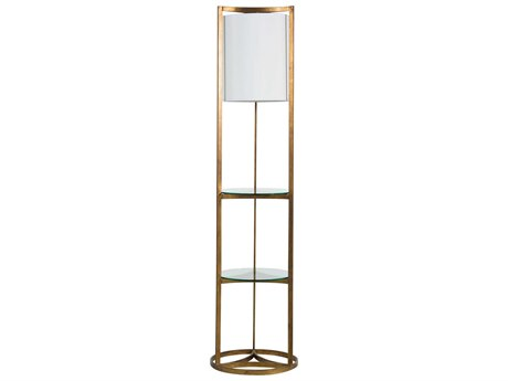 Gabby Home Roma Antique Gold Leaf / Linen 1-light Glass Floor Lamp